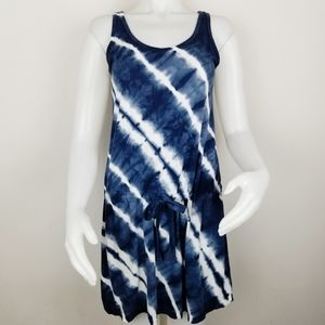Allen Allen Tie Dye Sleeveless Blue & White Dress